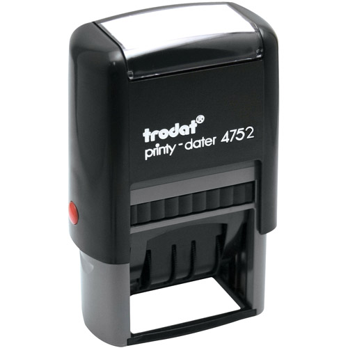 Trodat Economy Self-Inking Stamp/Dater, Blue/Red