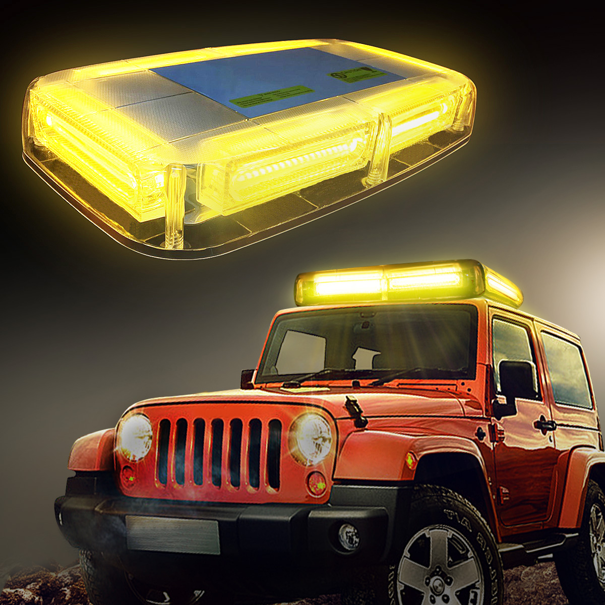 AMBOTHER 10x65x22 Inch Car Truck Amber Yellow 6-COB LED 18W Law Enforcement Emergency Hazard Warning LED Mini Bar Strobe Light 7 Modes with Magnetic Base