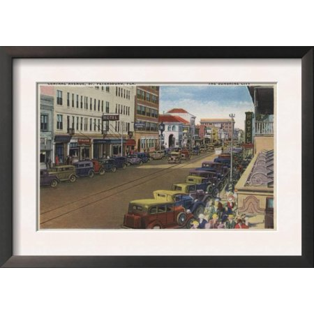 St. Petersburg, FL - View of Central Ave with Cars Framed Art Print Wall Art  - - Halloween Central Ave