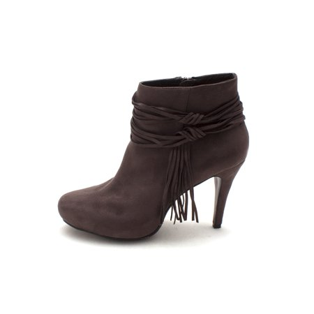 Womens Kitty Fringe Suede Closed Toe Ankle Fashion Boots