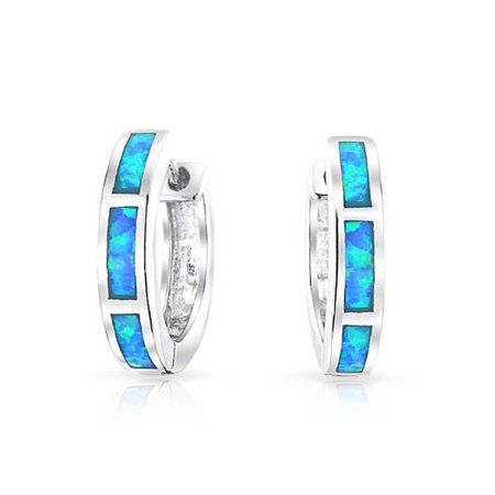 Blue Created Opal Inlay Iridescent Huggie Hoop Earrings For Women 925 Sterling Silver October Birthstone