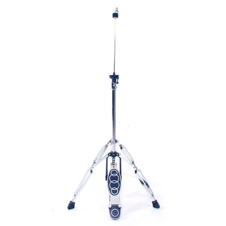 High Cymbal - Glarry Professional Pedal Control Style Drum High Hat Cymbal Stand with Pedal Silver and Black