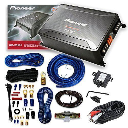 Pioneer GM-D9601 4 Gauge Digital Series Class D 2400W Mono Amp + Amplifier Wiring Kit**