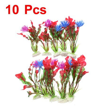 "Unique Bargains 10 x 7.8"" Height Red Green Emulational Plants Ornaments for Fish Tank"