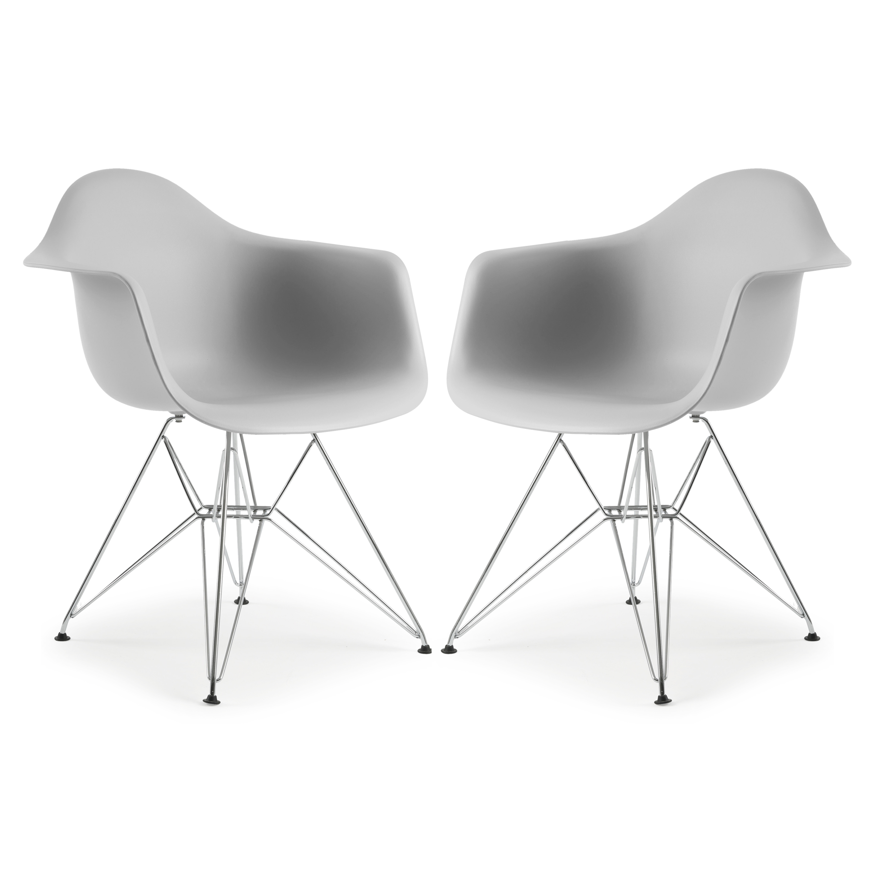 Poly and Bark Padget Arm Chair in White (Set of 2)