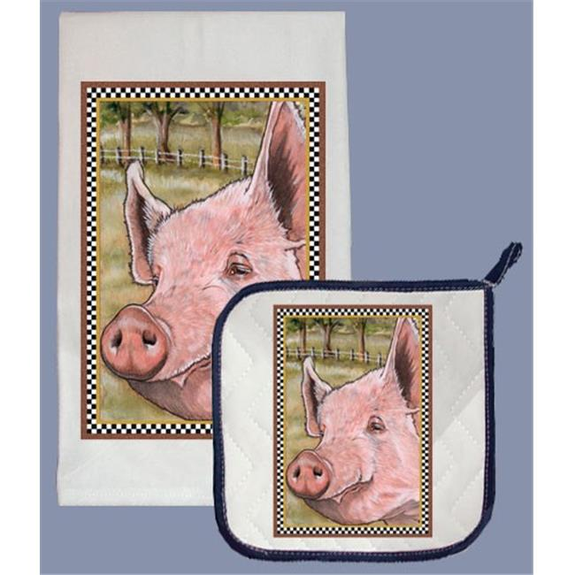 Pipsqueak Productions DP600 Pig Dish Towel And Pot Holder Set