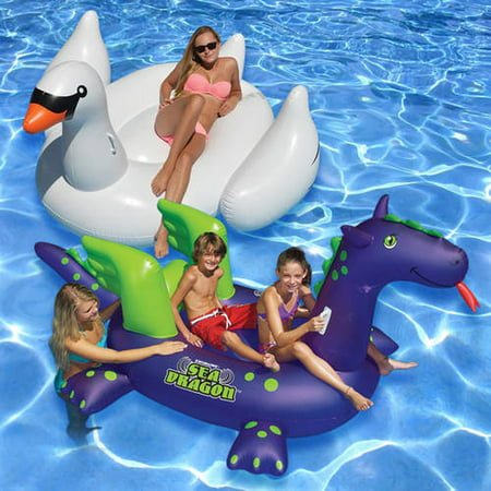 Swimline Ride-On Floats, White Swan and Sea Dragon