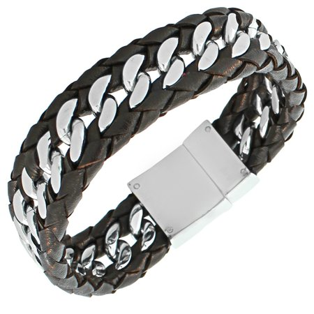 Stainless Steel Silver-Tone Brown Leather Men's Wristband Chain Bracelet Dial Brown Leather Bracelet