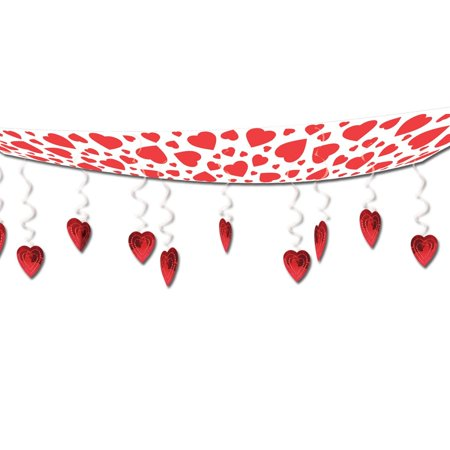 Club Pack of 6 Red and White Hearts Valentines Day Ceiling Decorations