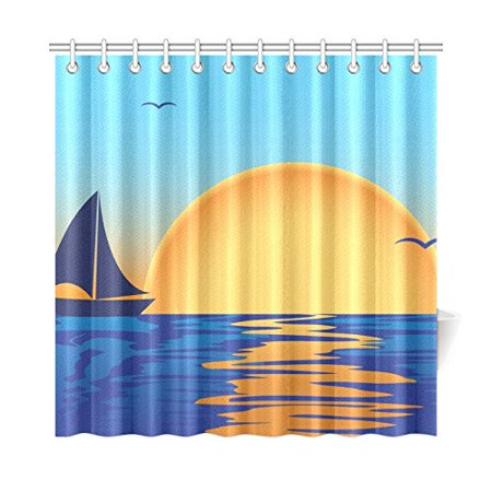 MKHERT Sea Sunset Shower Curtain Home Decor Bathroom 66x72 Inch
