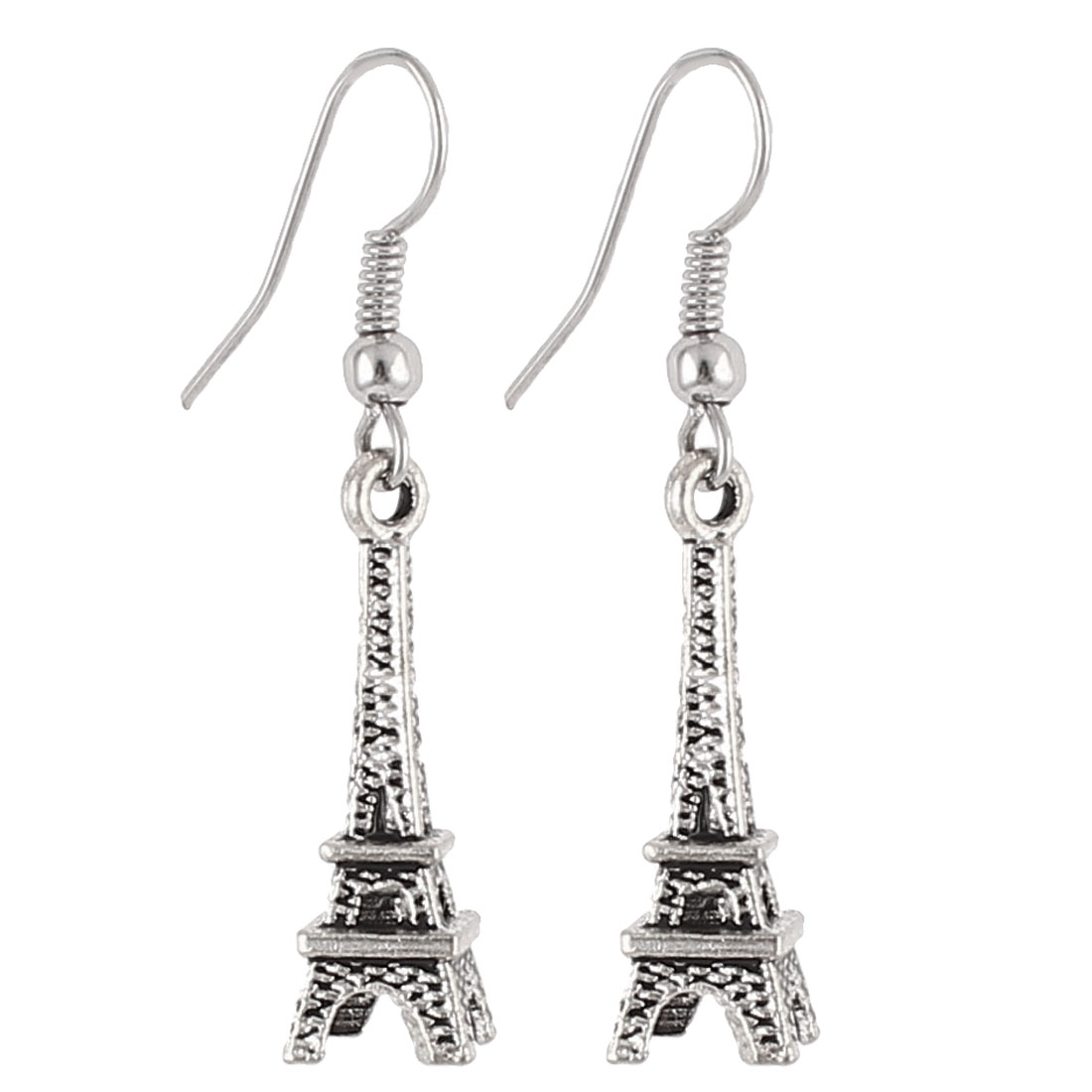 Eiffel Tower Decor Dangling Fish Hook Earrings Pierced Eardrop Silver Tone Pair