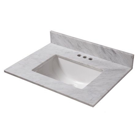 Cahaba 25 in. x 22 in. Carrara Marble Vanity Top with trough bowl and 4 in. faucet