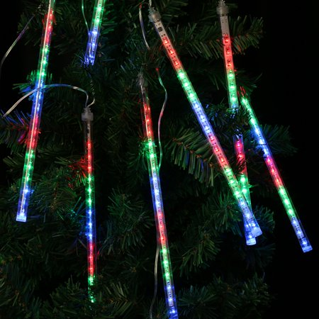 Finether 13.1 ft 8 Tube 144 LED Meteor Shower Rain Snowfall Plug-In String Lights for Holiday Christmas Halloween Party Indoor Outdoor Decoration Commercial Use ()