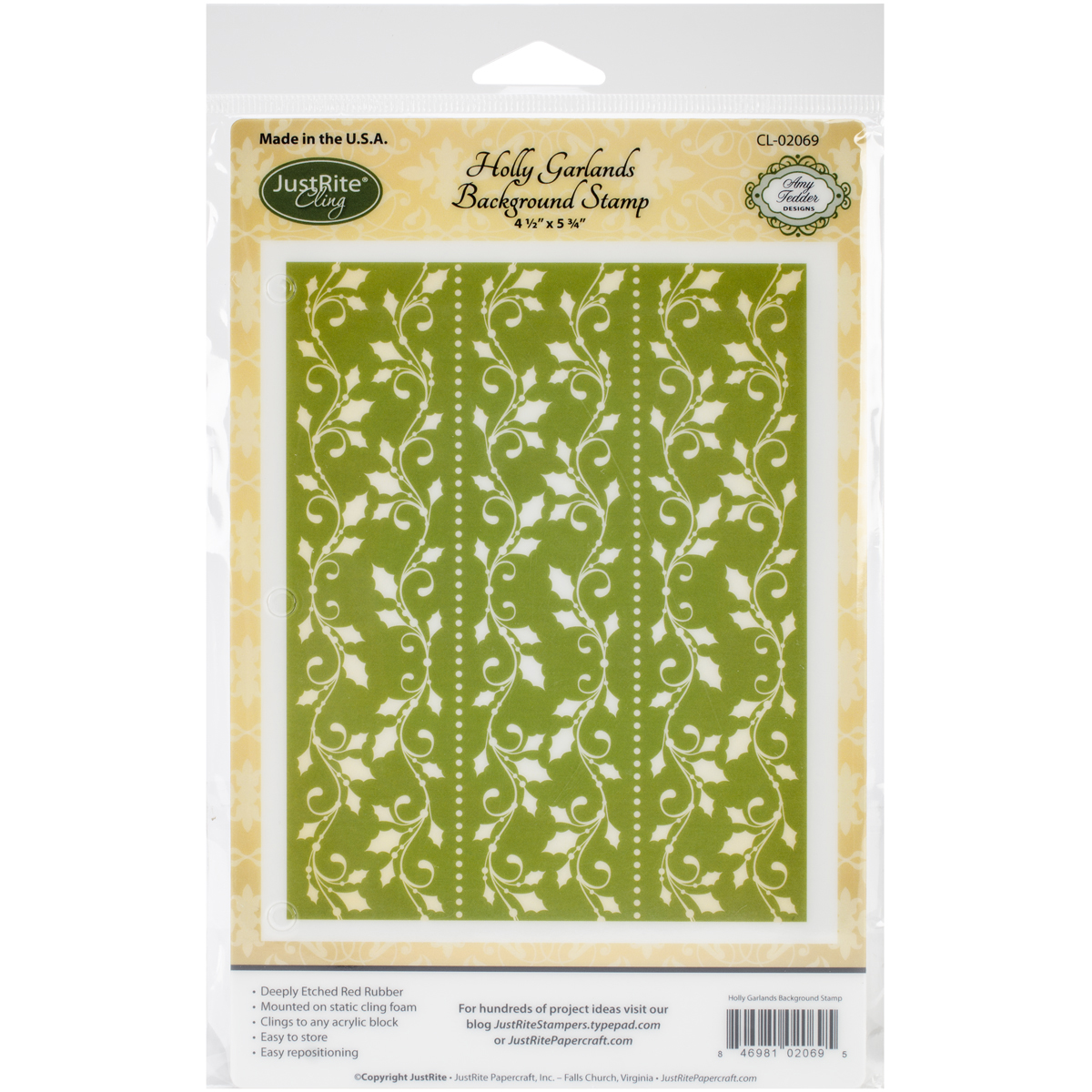 "JustRite Papercraft Cling Background Stamp 4.5""X5.75""-Holly Garlands"