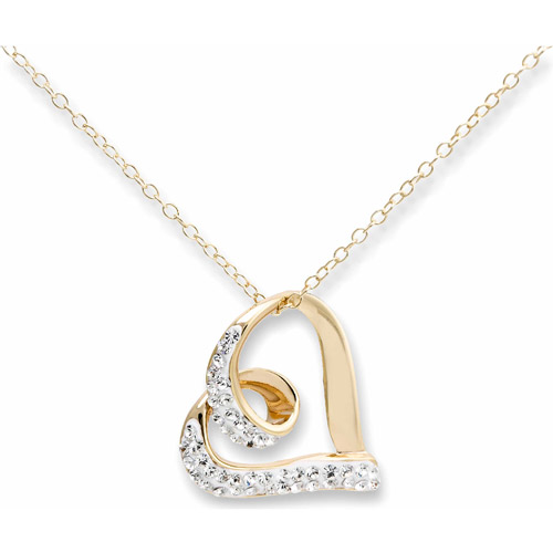 Crystal 18kt Gold over Sterling Silver Open Heart Pendant, 18""