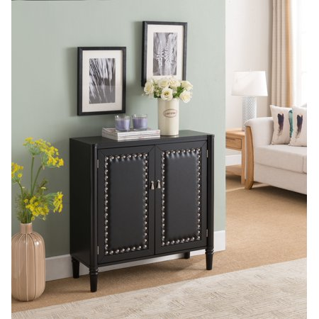 Connor Black Contemporary Wood & Faux Leather Tufted Entryway 2 Door Storage Accent Cabinet Console Table Bars Leather Cabinet