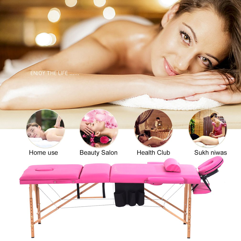 Professional Massage Portable Folding Table Home Furniture Wood Salon Spa Facial Massage Bed With Carrying Case