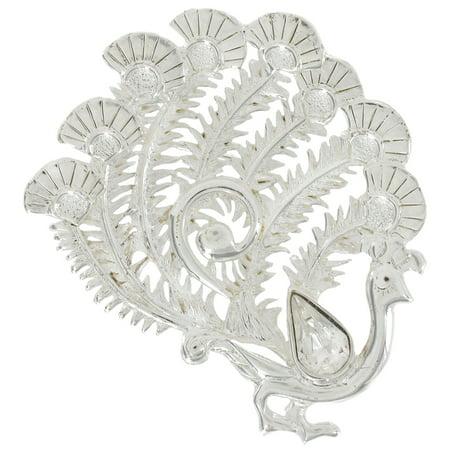 Danecraft Ornate Peacock Bird Silver Tone Pin Brooch
