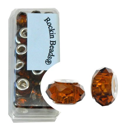 24 Topaz Brown, Loose Beads, Faceted Glass Large 4.5-5mm Hole Silver Plated for European Charm Bracelets