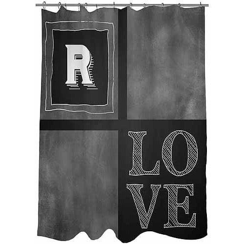 MWW, Inc. Thumbprintz Chalkboard Monogram Shower Curtain, Grey