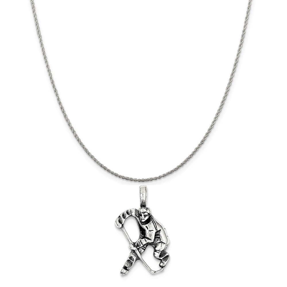 """Sterling Silver Antiqued Hockey Player Charm on a Sterling Silver Rope Chain Necklace, 18"""""""