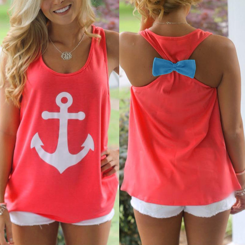 Anchor Print  Fashion Womens Summer Sleeveless Casual Cotton Tank Tops Blouse Loose T-Shirt Vest Tops Red XS