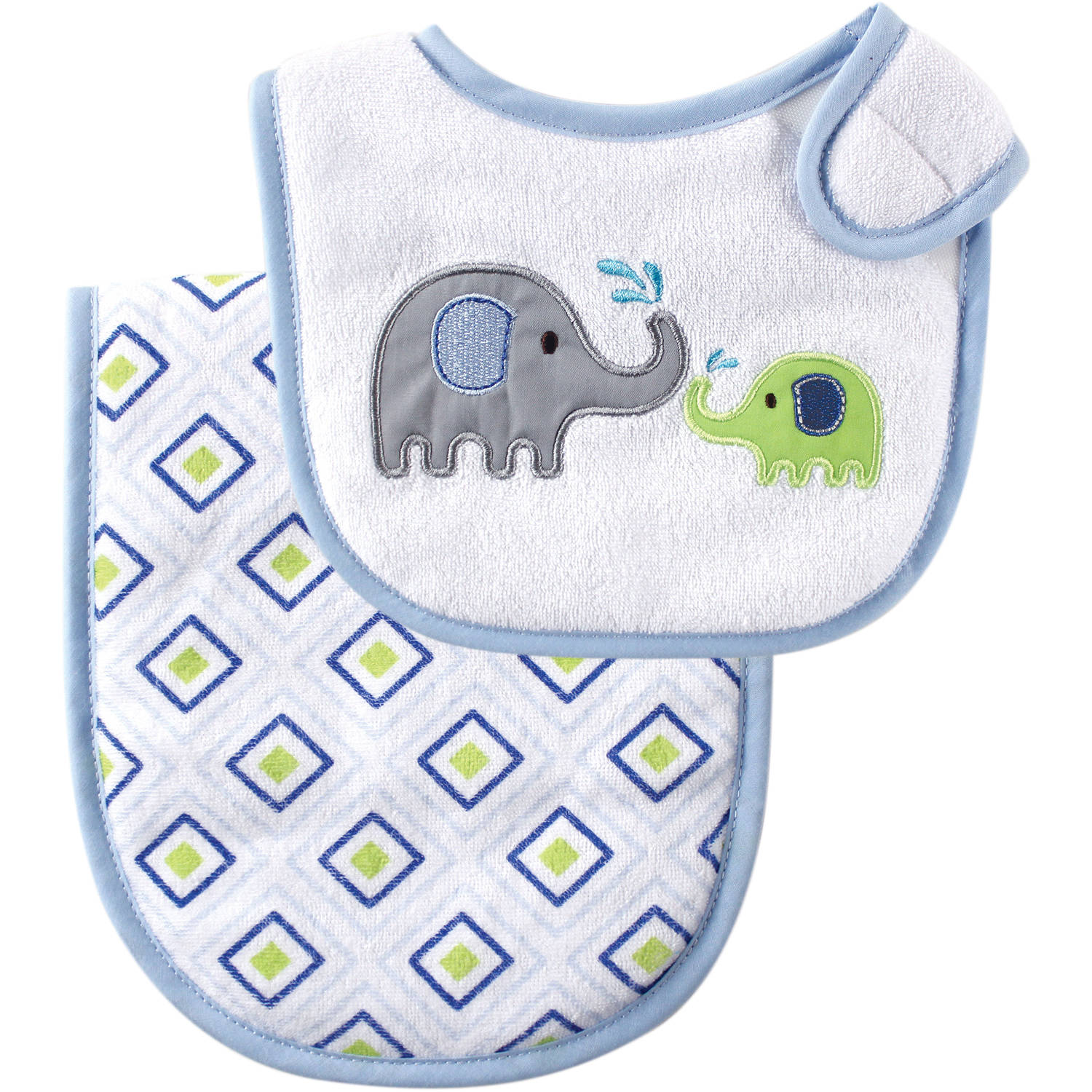Luvable Friends Side Closure Bib and Burp Cloth, Multiple Colors