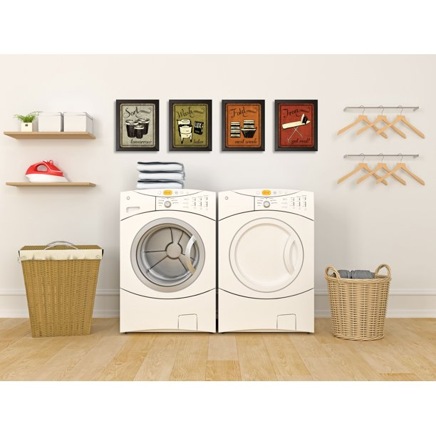 Gango Home Decor Laundry Set Vintage Sort Wash Fold Iron Signs Four 8x10in Art Prints In Black Frames Walmart Com Walmart Com
