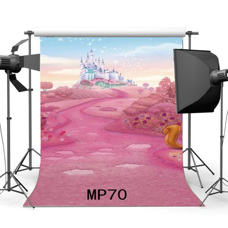 GreenDecor Polyster 5x7ft Fairytale Castle Backdrop Baby Shower Pink Fresh Flowers Path Squirrel Bokeh Glitter Spots Fantasy Photography Background Girls Princess Happy Birthday Photo Studio Props - Princess Background