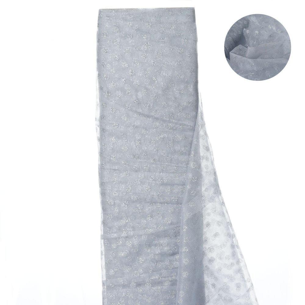 Glittered Polka Dot Tulle FabricSilver/Silver- 54 x 15 Yards