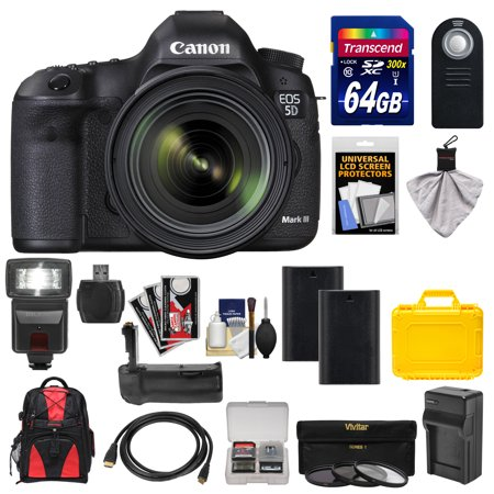 Canon EOS 5D Mark III Digital SLR Camera with EF 24-70mm f/4.0L IS USM Lens with 64GB Card + Backpack + Flash + Grip + Batteries & Charger + 3 Filters + Accessory Kit