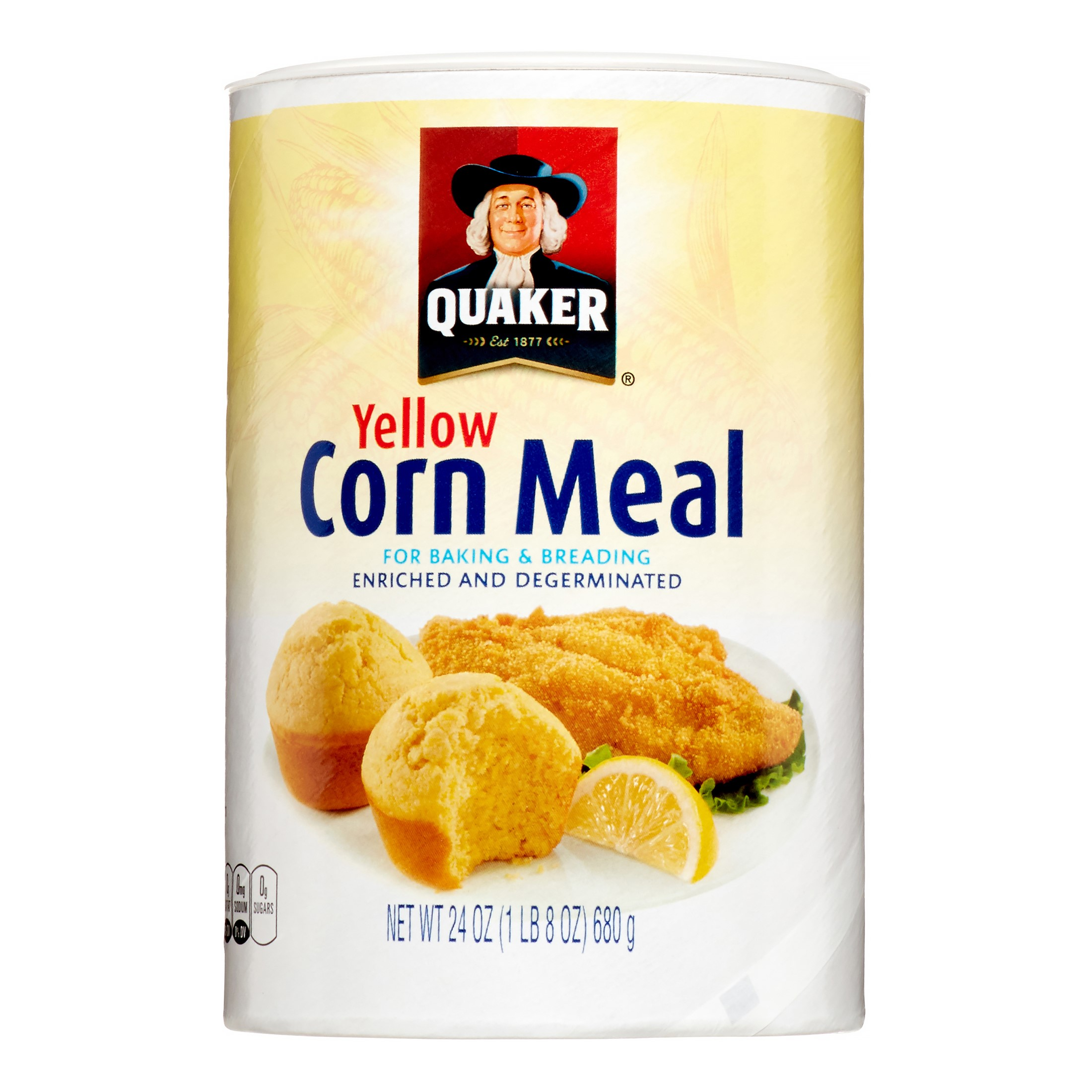 Quaker® Yellow Enriched and Degerminated Corn Meal, 24 oz. Canister