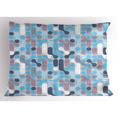 Abstract Pillow Sham Grunge Retro Stylish Pattern with Circles Large Dots Rounds Artwork, Decorative Standard Size Printed Pillowcase, 26 X 20 Inches, Pale and Sky Blue Mauve, by Ambesonne