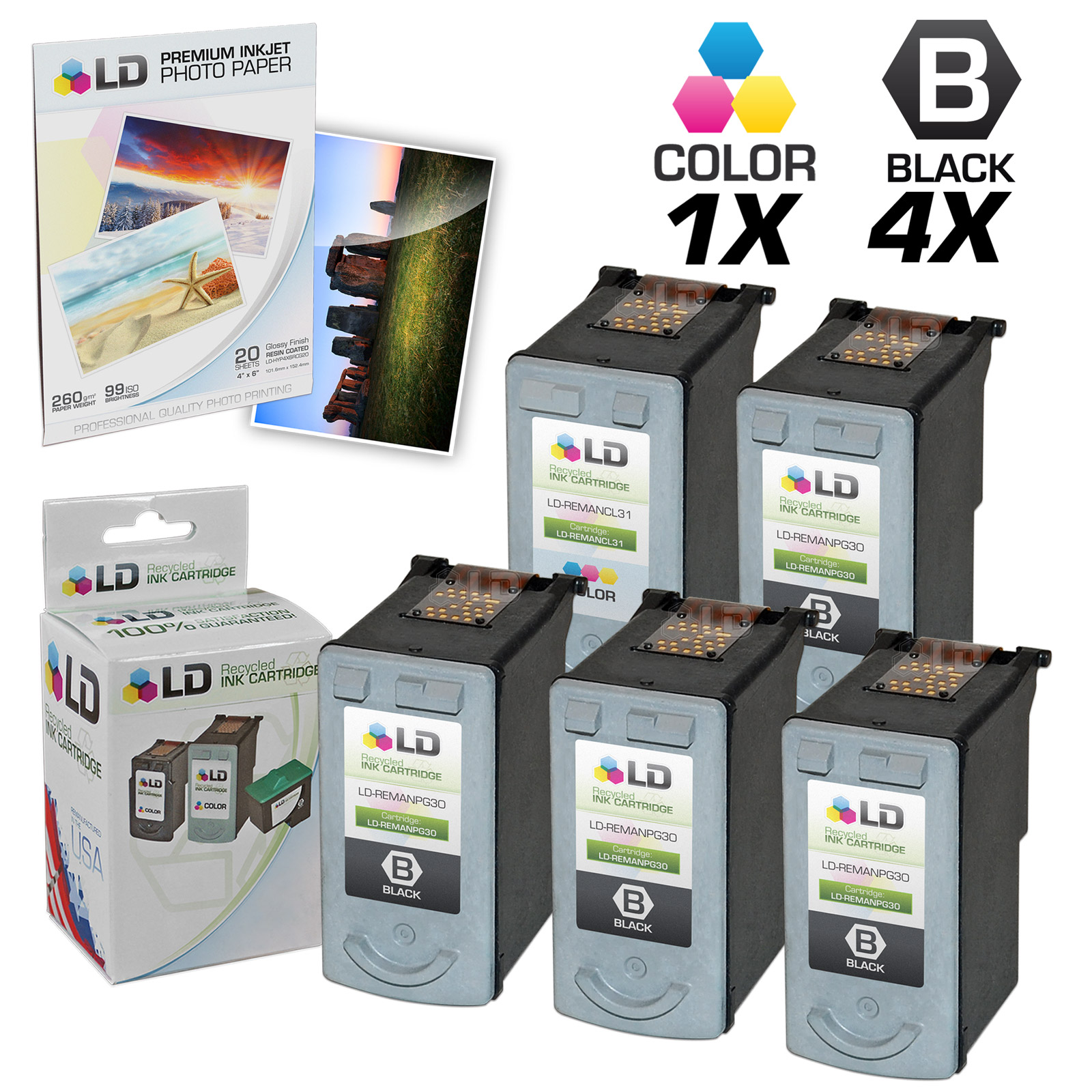 LD Remanufactured Canon #PG-30 & #CL-31 Combo Set - 4 Black #PG-30 and 1 Color #CL-31 & Free 20 Pack of LD Brand 4x6