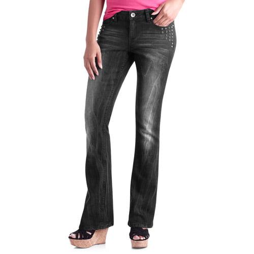 No Boundaries Juniors' Studded Bootcut Jeans