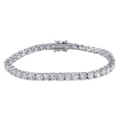 Solitaire Round Cut Bracelet 1 Row Tennis Link 14K White Gold Finish Lab Diamond