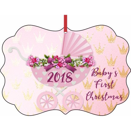 Baby's First Christmas Ornament 2018 Baby Girl Elegant Aluminum SemiGloss Christmas Ornament Tree Decoration - Unique Modern Novelty Tree Décor Favors](Unique Christmas Tree Decorations)