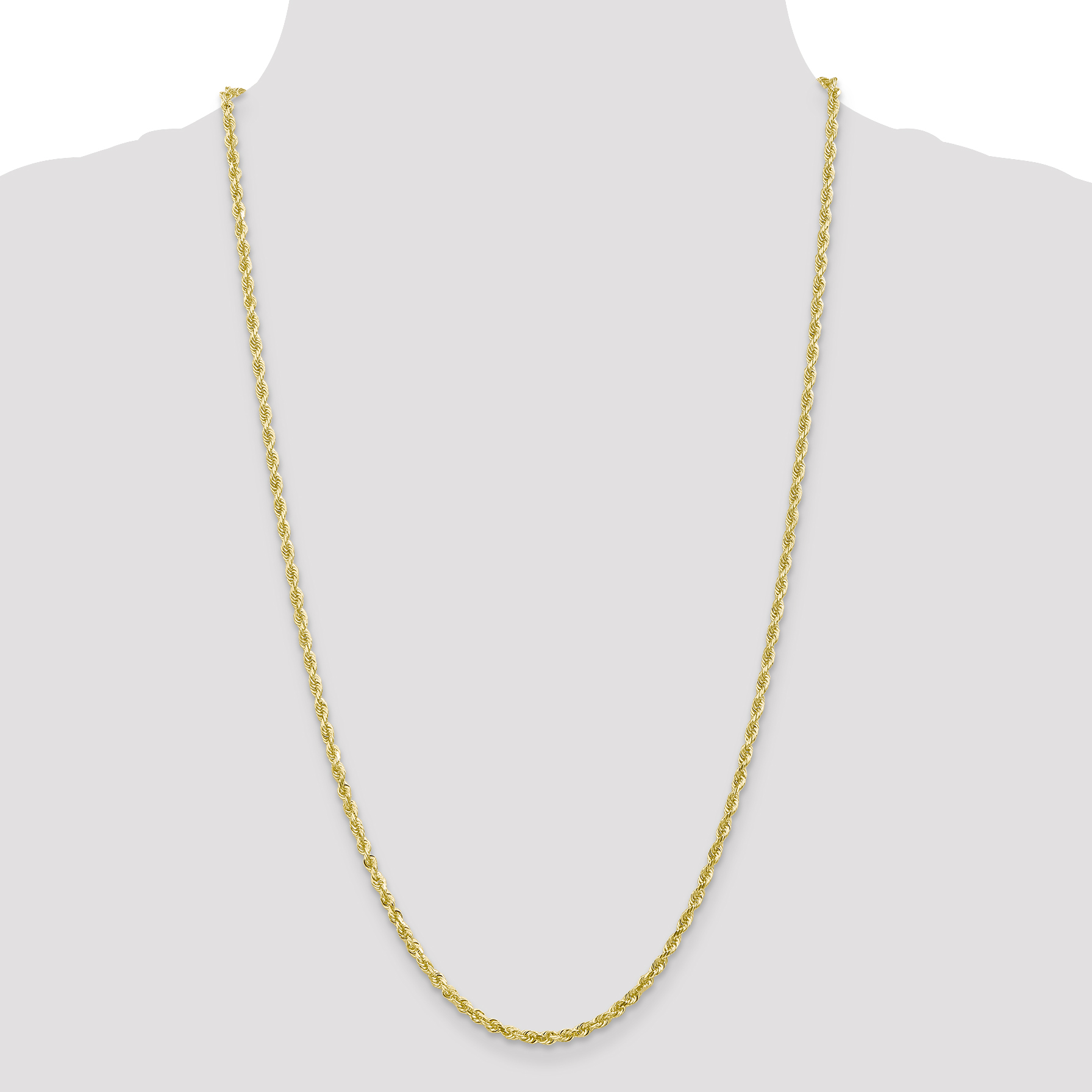 10K Yellow Gold 3.0mm Diamond Cut Quadruple Rope Chain 18 Inch - image 4 of 5