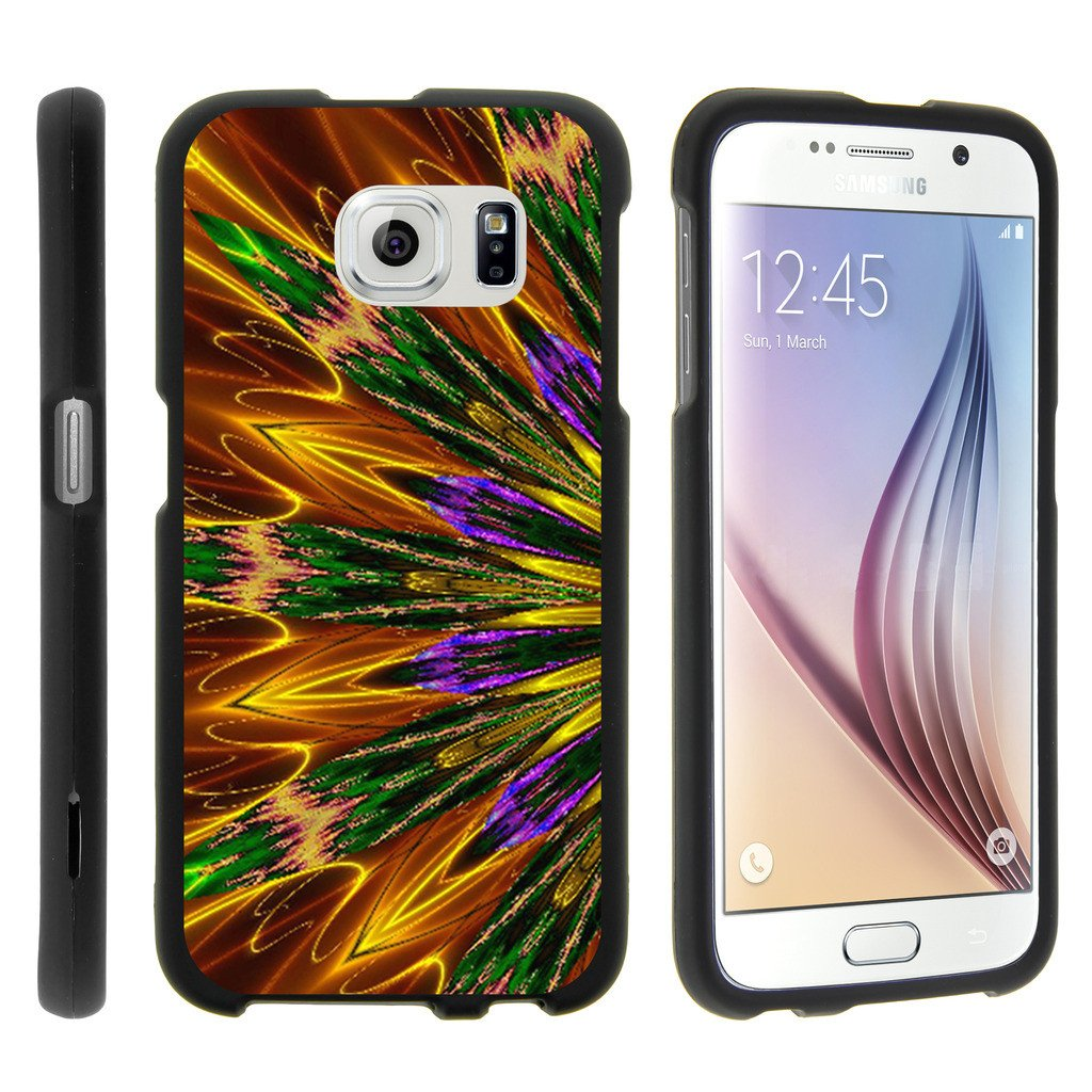 Samsung Galaxy S6 Edge G925, [SNAP SHELL][Matte Black] 1 Piece Snap On Rubberized Hard Plastic Cell Phone Cover with Cool Designs - Kaleidoscopic Phoenix