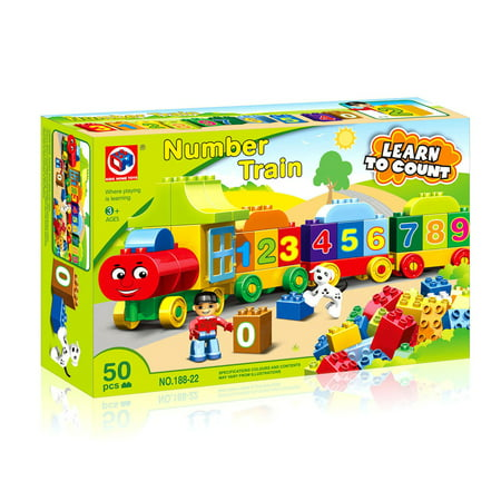 Train Building Set Block Number Learn to Count 50 pcs Compatible with other brands Mundo Toys Miami