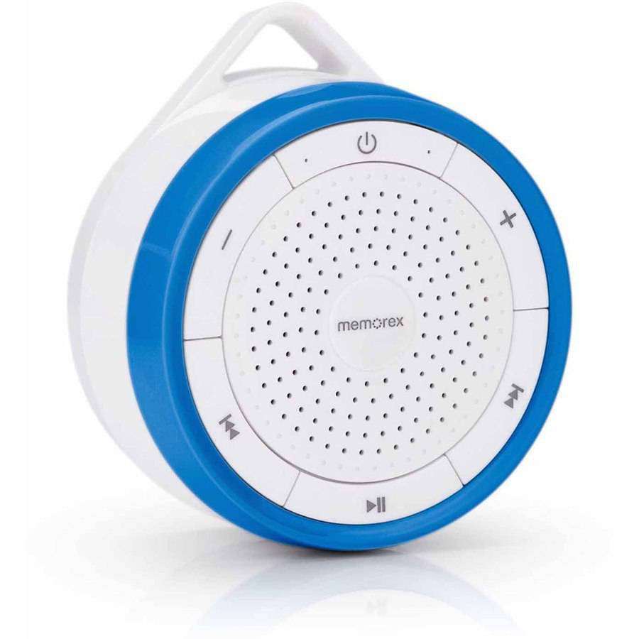Memorex Wireless Submersible Speaker + FM Radio, Blue/White