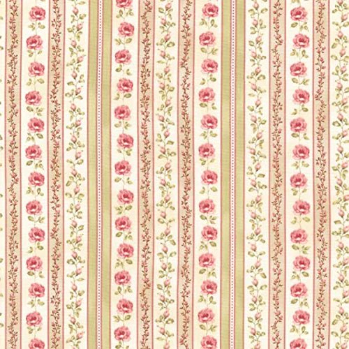 Le Jardin Parisien Beautiful Pink Floral Stripe~Cotton Fabric by Kaufman