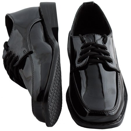 Kids Black Square Toe Tuxedo Shoes - Tux Shoes