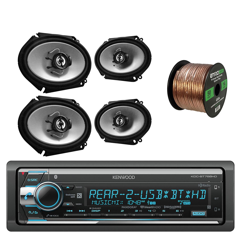 Kenwood Single Din CD/AM/FM Car Audio Receiver W/ Bluetooth with Kenwood Sports Series 6.8 Inch 250 Watt 2-Way Car Audio Coaxial Black Speakers 2- Paris and Enrock Audio 16-Gauge 50 Foot Speaker Wire
