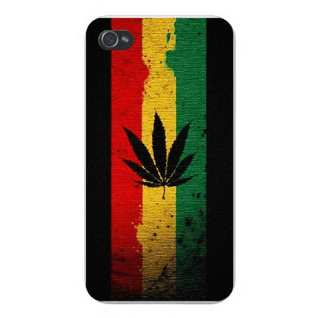 Apple Iphone Custom Case 4 4s White Plastic Snap on - Marijuana Weed Leaf Silhouette on Red, Yellow, Green & Black