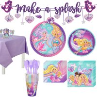 Party City Iridescent Barbie Mermaid Birthday Party Supplies for 8 Guests, Include Plates, Napkins, and Decorations