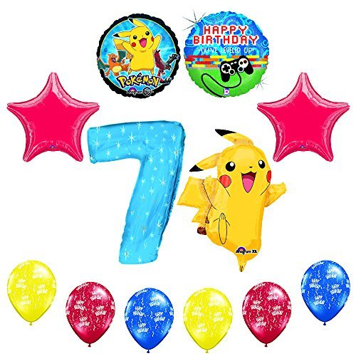 "NEW! 12 pc Pokemon Go ""You've Leveled Up"" 7th Happy Birthday Balloon Supplies"