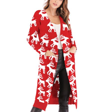 Christmas Tree Print Women Open Front Long Cardigan With Pocket ()