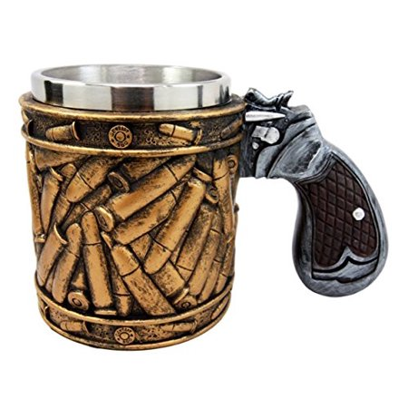 Atlantic Collectibles Western Revolver Gun Pistol With Ammo Bullet Round Shells Beer Stein Tankard Coffee Cup Mug 6.75