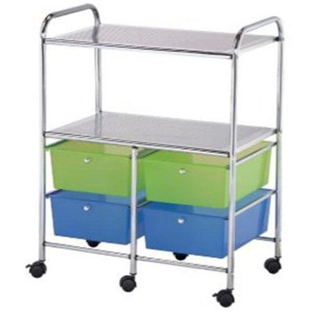 Alvin File (Alvin Storage Cart 4-Drawer (Deep) with 2-Shelf Multi-Colored)